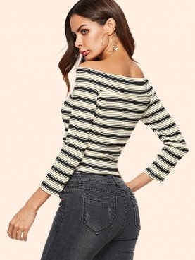 Off Shoulder Crop Tops In Striped with 3/4 Length Sleeve