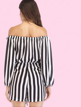 Tie Front Long Sleeve Off Shoulder Striped Playsuit