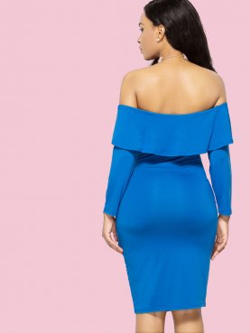 Plus Size Ruffles Off Shoulder Bodycon Dress with 3/4 Length Sleeve