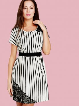 Batwing Sleeve Striped Mini Dress with Contrast Waist and Lace Detail