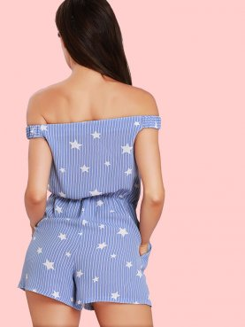 Stars and Striped Print Off Shoulder Playsuits with Tie Front