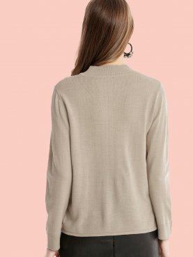 Ribbed Collar and Cuff Long Sleeve Knit Jumper