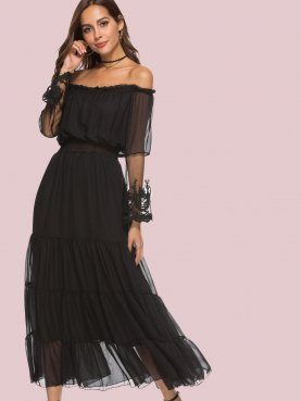 Lace Contrast Sleeve Off Shoulder Tiered Maxi Dress