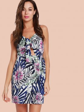Tie Front Backless Printed Mini Dress