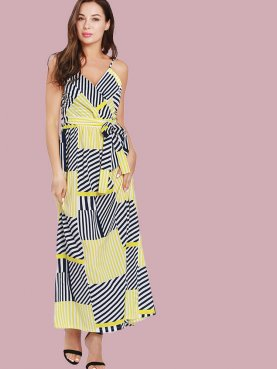 Wrap Front Clour Block Striped Maxi Dress