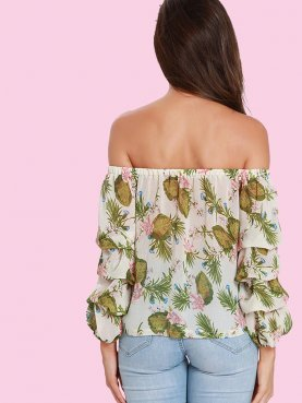 Off Shoulder Gathered Sleeve Botanical Print Crop Tops