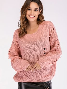 Ballon Sleeve Dropped Shoulder Knit Jumper with Pearls Detail