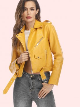 Jackets Street Short Washed PU Jacket Zipper Jackets Slim Fit Women Coats Outwear