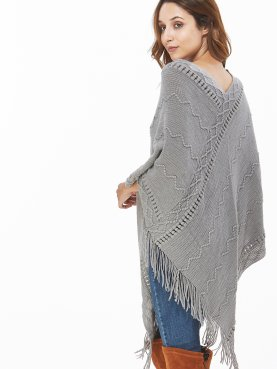 Tassels Trim V-Neck Poncho Top In Cable Knit