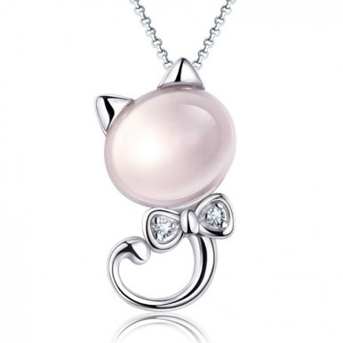 OneBling Pink Crystal Inlaid Zinc Alloy Cute Cat Pendants Fashion Gifts for Women Girls Fashion Jewelry Necklace Pendant