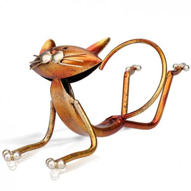 OneBling Yoga Cat Wine Rack Creative Home Metal Ornaments Three-Dimensional Metal Wine Racks Crafts Accessories