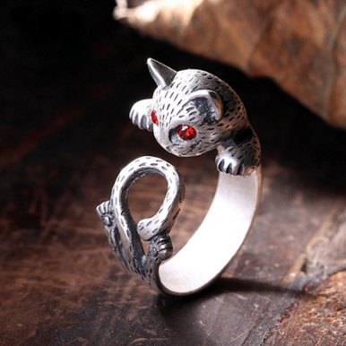 OneBling Hippie Vintage Punk Cat Party Rings Female Boho Chic Knuckle Animal Cat Rings For Women Silver-Plated Adjustable
