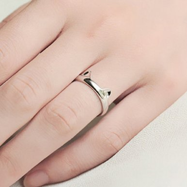 OneBling Silver Color Cat Ear Ring Cute Fashion Jewelry Cat Ring For Women And Girl Gifts Adjustable Charms Cat Claws Ring