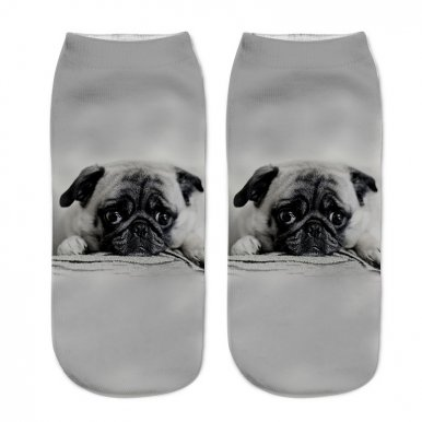 OneBling 3D Socks Fashion Animal Print Pattern Socks Cute Cats / Dogs Comfort Short Socks Men Socks