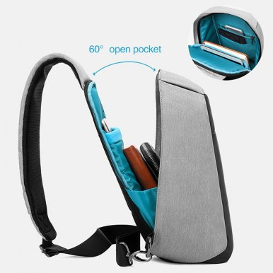 OneBling Anti-theft Hidden Zipper Chest Bag Waterproof Sling Bag External USB Port Laptop Bag Outdoor Riding Travel Bag