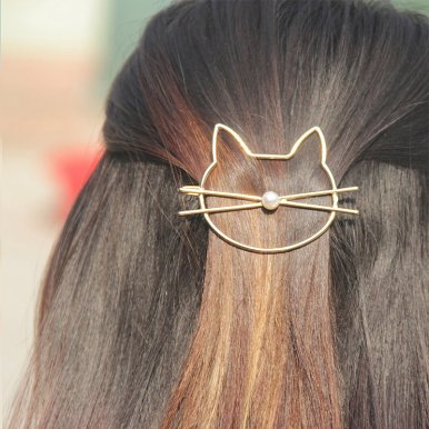 OneBling Cute Hollow Triangle Geometric Metal Hairpin Fashion Simulation Pearl Cat Hair Clip Women Gift Headwear Styling Hair Accessories
