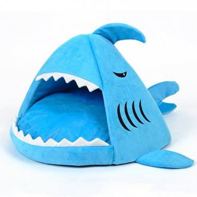OneBling Cute Shark Pet Bed Removable Mat soft Puppy House Warm Cat Cave Nest Pet Supplies