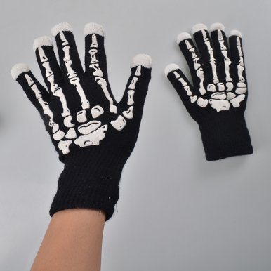 OneBling Creative Hand Skeleton Pattern Fingertip Glowing Gloves 7 Mode LED Flashing Gloves for Party Knitted Gloves
