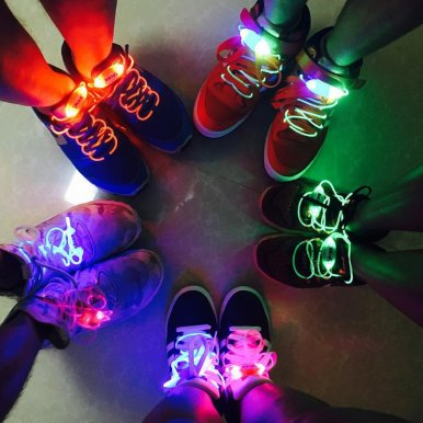 OneBling Waterproof Luminous LED Shoelaces Fashion Light Up Party Night Glowing Shoelaces