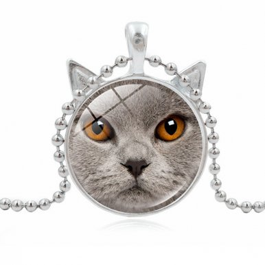 OneBling 1 PCS Cat Photo Cabochon Glass Pendant Necklce Fashion Vintage Jewelry Alloy Chain Necklace