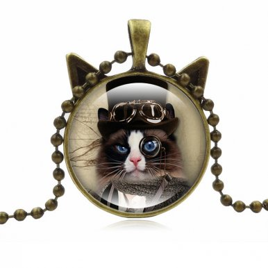 OneBling Fashion Jewelry Vintage Cute Cat Photo Art Pendent Necklace Women Glass Necklaces for Love Gift