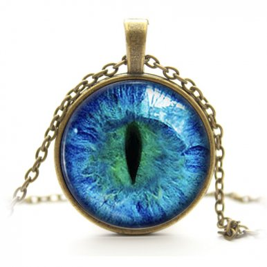 OneBling Glass Pendant Necklace Vintage Cat Eye Photo Necklace Women Jewelry with Alloy Chain