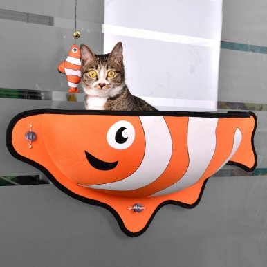 OneBling Fish-Shaped Windowsill Pet Hammock Roomy Cat Bed Sucker Hammock