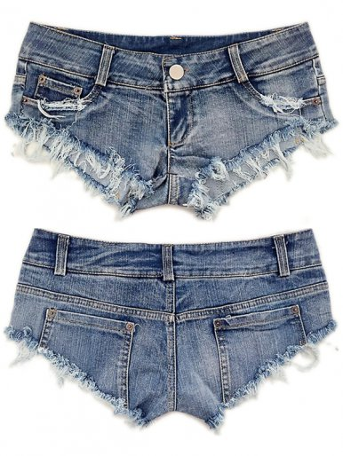 OneBling Denim Mini Shorts Jeans Triangle Low Waist Skinny Short Clubwear Women