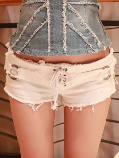 OneBling Sexy Women Denim Shorts Summer Lace-up Zipper Low Waist Shorts