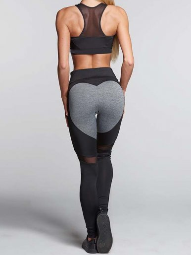 OneBling Heart Pattern Patchwork Mesh Women Leggings V-Shape Waist Workout Fitness Leggings