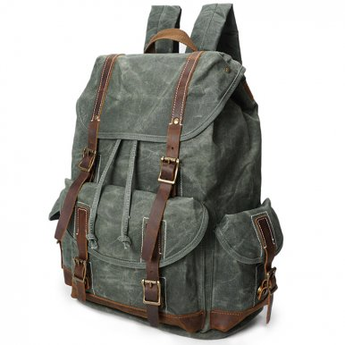 OneBling Casual Canvas Backpack Waterproof Large Capacity Men Anti-theft Laptop Bag