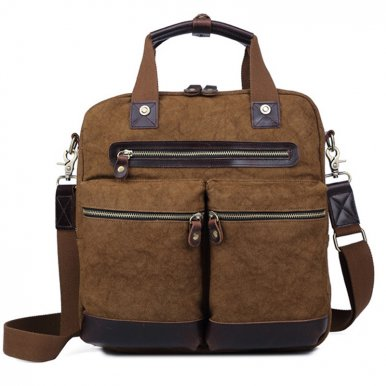 OneBling Canvas and Genuine Leather Patchwork Business Bags Crossbody Bags Fits 14  Laptop