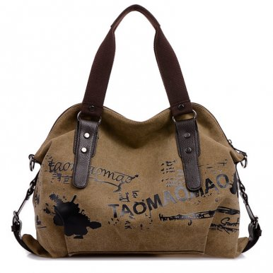 OneBling Graffiti Printed Canvas PU Patchwork Shell Bag Casual Women Crossbody Bag