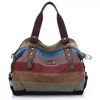 OneBling Patchwork Striped Canvas Bag Women Crossbody Bags Casual Shoulder Bag