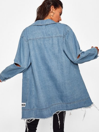 OneBling Ripped Sleeve Raw Hem Denim Jacket with Letter Patch