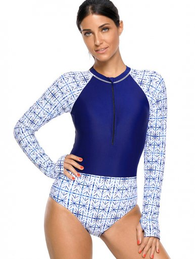 OneBling Zipper Up Mock Neck Contrast Swimsuits