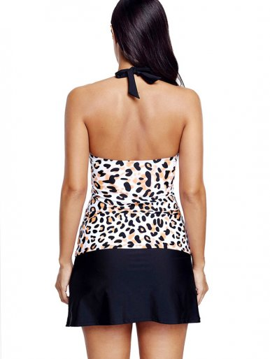 OneBling Leopard Contrast Overlay Tankinis Swimwear