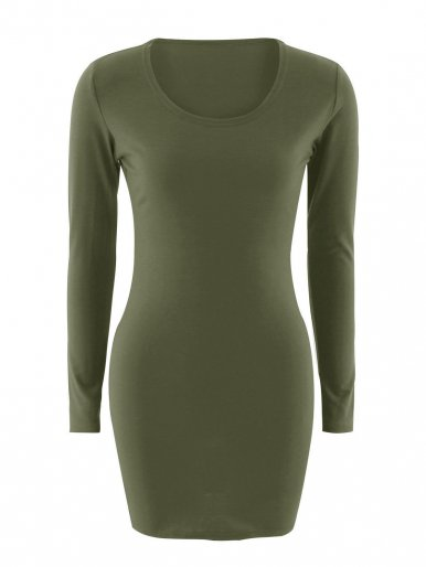 OneBling Scoop Neck Solid Jersey Bodycon Dress