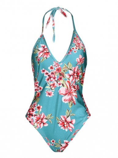 OneBling Tied Plunge Neck Print One Piece Swimsuit