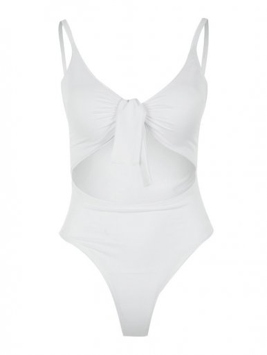 OneBling Cutout Tied-Front One Piece Swimsuits