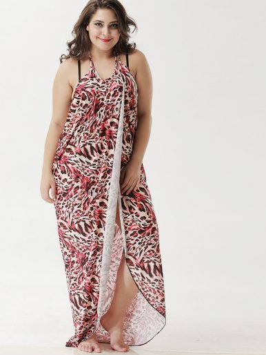OneBling Plus Size Leopard Maxi Wrap Dress Multipurpose