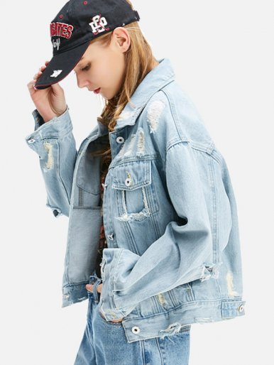 OneBling Letter Patch Back Ripped Bleached Denim Jacket