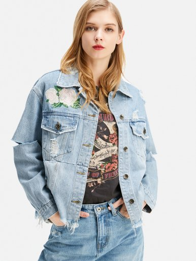 OneBling Floral Embroidery Frayed Distressed Denim Jacket
