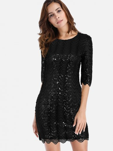 OneBling Sequin Half Sleeve O-Neck Slim Mini Dress