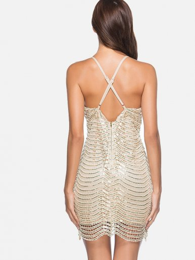 OneBling Backless Gold Black Sequin Mini Dress