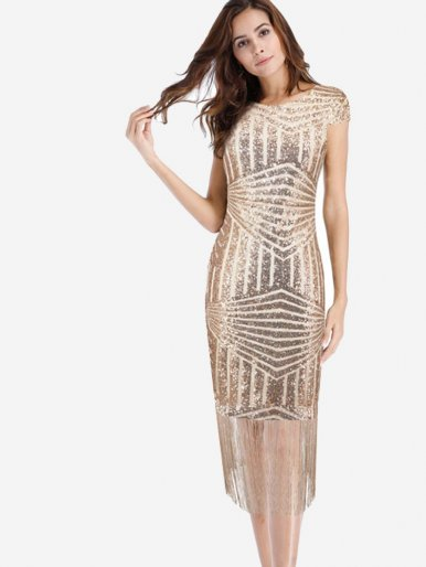 OneBling Gold Geometric Sequins Tassels Dress