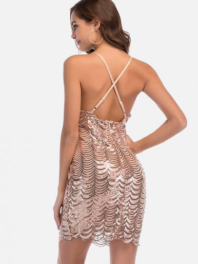 OneBling Deep V-neck Sleeveless Backless Bandage Sequin Mini Dress