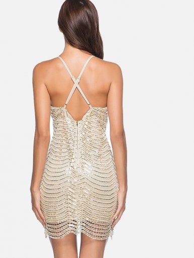 OneBling Deep V-Neck Backless Sexy Mini Bandage Party Dress