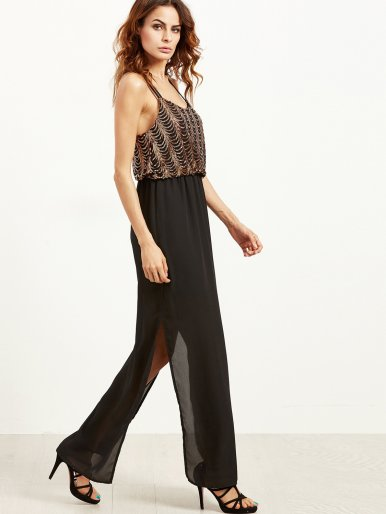 OneBling Sequined Chiffon Splice Spaghetti Strap Split Maix Dress