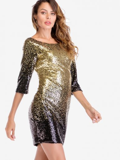 OneBling Elegant Bodycon Black Gold Sequin Dress